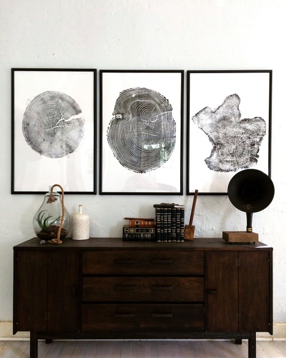 Set of 3 Large Tree Ring Prints, Tree stump prints, Tree ring print, tree ring art, triptych art set, large art prints, tree art, woodcut