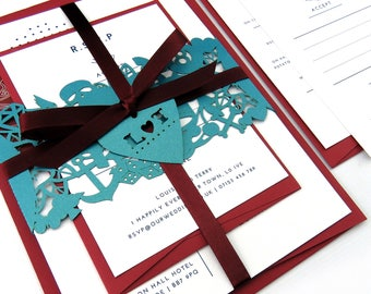 Rockabilly wedding invitation band, Wedding stationery suite - Alternative wedding invitation, Laser cut invitation, Psychobilly wedding