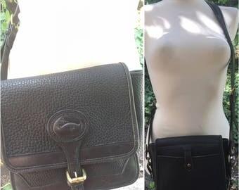 Vintage 80s Dooney and Bourke black on black all weather leather cross body shoulder bag purse handbag made in USA