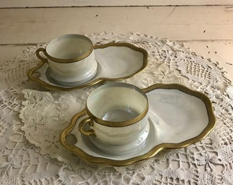 Tea Cup Saucer Luncheon Plate Shoru Japan Antique Gold Iridescent Luster