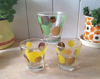 1960s Spotty Shot Glasses - for liqueurs  - for shots - gold rims