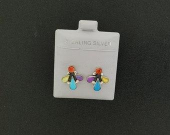 Vintage Multi-colored Needlepoint post earrings