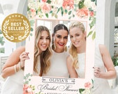 Wedding Photo Prop - Bridal Shower Photo Props - Pretty Peach - DIGITAL FILE - Baby Shower Photo Prop Frame - Printed Option Available
