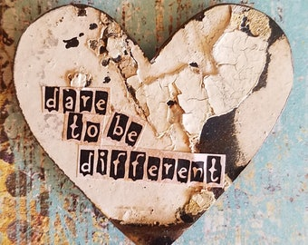 Dare to be different vintage metal ceiling tin heart