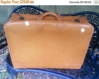 WILL SHIP AUG 23 Vintage Camel Tan Leather Wardrobe Suitcase
