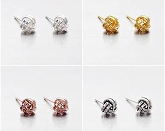 925 Sterling Silver Earrings, Knot Earrings, Gold Plated, Rose Gold Plated, Oxidized Earrings, Stud Earrings, Size 5 mm (Code : E37B)