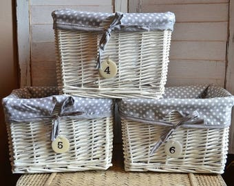 Small Wicker Storage Basket with Liner and Metal Number Tag