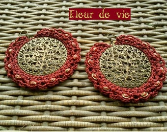 EARRINGS LACE BURGUNDY GYPSY CHIC