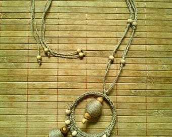 NECKLACE NATURE HEMP AND WOOD