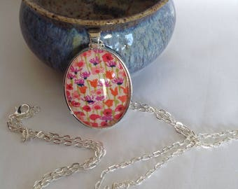 Bezel Set Fabric Necklace   Liberty of London Fabric   Quilters Necklace   Quilt Fabric Necklace   Gift for Quilter   Quilters Jewellery