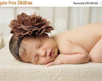 SALE Brown Flower Headband, Baby Girl Headband, Large Flower Headband, Fall Headband