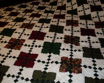 Queen size quilt, hand quilted, square on square