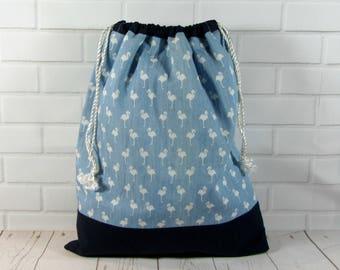 Flamingo drawstring bag, fabric shoe bag,  travel accessory bag, blue and white bag, toy bag, made in France,