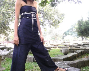 Silk and knotted tie wide pants