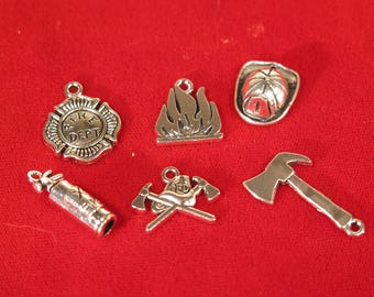 """SET! 30pc """"fire fighter"""" deluxe charms set in antique silver style (BC1376)"""