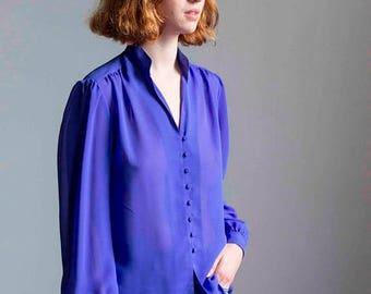ECLIPSE Violet Blue Georgette Blouse 1970s Vintage // Medium