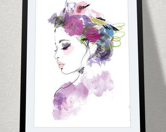 Poster - Portrait - Bohemian and bucolic illustration - decoration