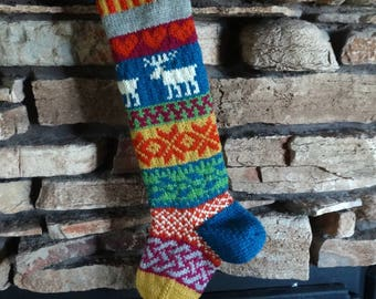 Knit Christmas Stocking, Personalized Christmas Stockings, Hand Knitted Christmas Stocking, Knit Stockings, Blue Moose, Magenta Celtic Knot