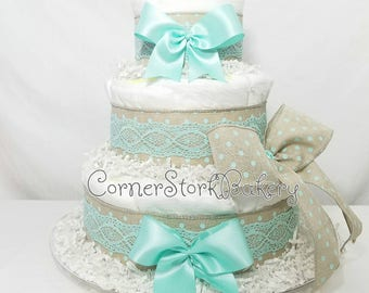 Burlap Mint Polka Dots and Lace  Burlap Diaper Cakes  Baby Shower Gifts  Baby Shower Centerpieces  Mint Diaper Cakes  Mint Lace  Baby Girl