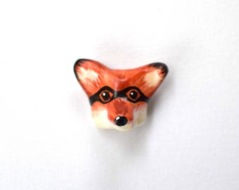 Masked Hero, Fox, hand painted | brooch, quirky gift, black, woodland, superhero