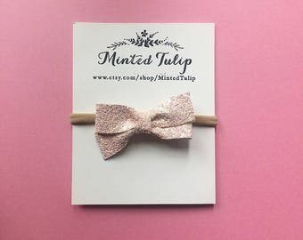 Light Pink Glitter Bow on Headband or Hair Clip Baby Toddler Kids