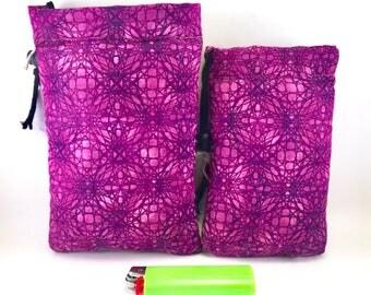 Padded pipe pouch - 420- Purple Haze - Black Felt Inside