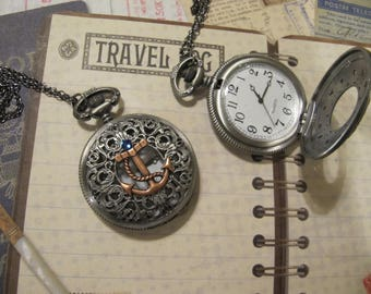 Pocket Watch, Birthstone Jewelry, Anchor Jewelry, Steampunk Jewelry, Gear and a Watch, Necklace, Bridesmade Gifts, Woman's gifts