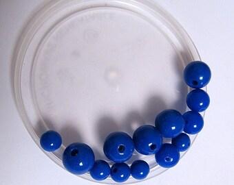 """""""My small batch 1 euro"""" ultramarine blue acrylic beads"""