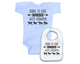 Born to Ride Horses with Grandma Layette Set - Pink or Blue