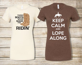 SALE! Equestrian T-Shirt Bundle: Keep Calm and Lope Brown T-Shirt & These Boots Were Made for Ridin' Natural Organic Cotton Tee - Size Small