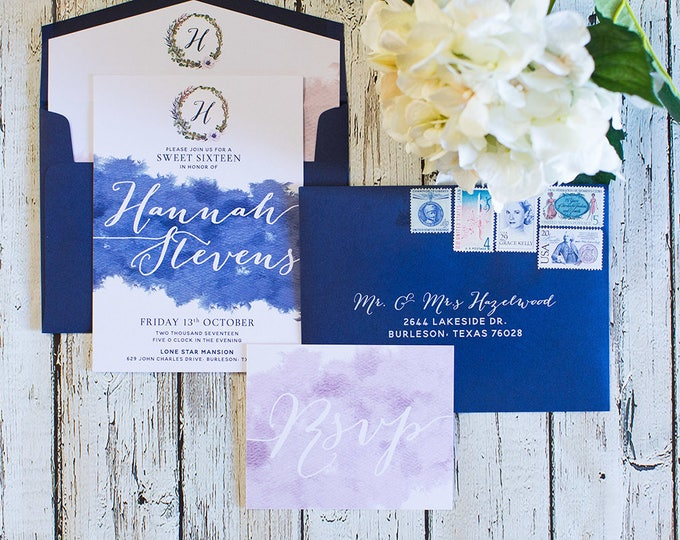 Navy and Blush Water Color Monogram Wreath Wedding Invitation with RSVP & Envelope Liner