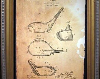 Vintage Golf Club Patent Print - Vintage print - Golf Club Head Art valentine's gift