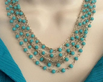 10% off Turquoise Blue Necklace and Earring Set, Multi strand necklace, Bohemian necklace, Drop style necklace, SALE