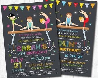 Little Tumblers Birthday Invitation, Tumbler Invitation, Tumbler Invite, Gymnastic Invitation, Gym Invite, Digital Printable Invitation