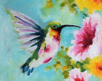 Original Impressionist Oil Bird Painting, Colorful Hummingbird With Pink and Yellow Flowers, Floral Art 6x6 Inch