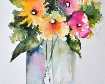 PRINT Of Watercolor Painting, Still Life Floral Painting, Yellow and Pink Flowers In a Vase 6x8 Inch