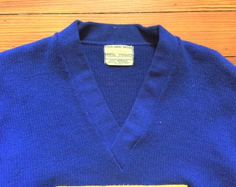 Vintage 70s Bristol Products Blue Yellow W Varsity Sweater 44
