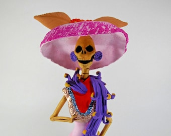 """FANCY CATRINA with shawl stole hand made mexican folk art day of the dead 12"""""""