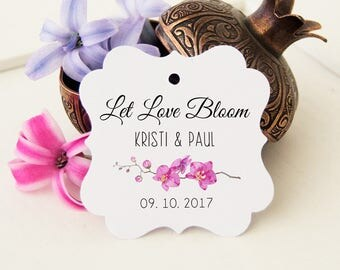 Let Love Bloom Tags, Wedding Gift Tags, Bridal Favor Tags, 24 Wedding Favor Thank You Tags, Personalized Favor Tags