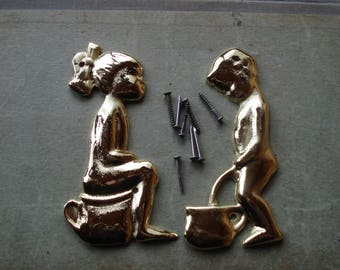 Vintage Set of 2 Solid Brass Door Bathroom Signs/Toilet signs/ Set of 2 soviet WC Door Plaques, Toilet Door Signs/ 1990s