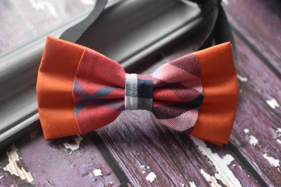 Festive Watermelon Pink and Orange Tartan / Plaid Bow Tie  for Baby, Toddlers and Boys (Kids Bow Ties) with Braces / Suspenders