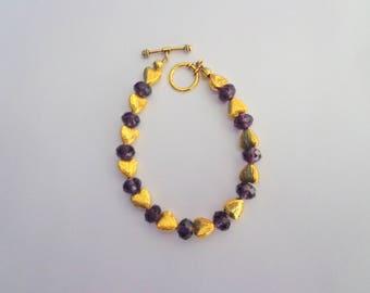 Valentines Bracelet,Gold Tone Heart Bracelet,Gold Bracelet,Toggle Lock Bracelet,Purple Heart Bracelet,Heart Jewelry