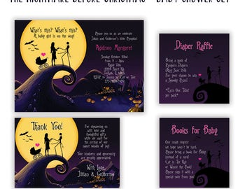 The Nightmare Before Christmas Invitation Set - Baby Shower - Baby Shower Invitation - Diaper Raffle Card - Thank You Card Set