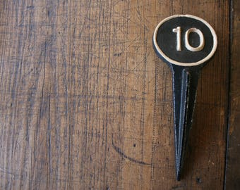Cast Iron Number 10 Marker Number Spike Numerical Rustic Industrial Decor Art Craft Numeral Interior Design Vignette Ten Garden Decor