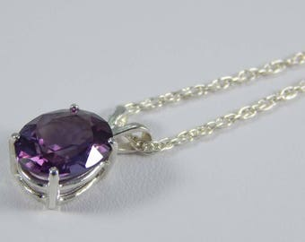 Simulated Alexandrite Necklace. Alexandrite. Alexandrite in Sterling Silver Setting. Oval Alexandrite 10mm x 8mm