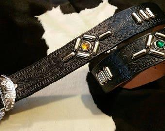 No.320 Handmade Vintage Reproduction Studded Jeweled Cowboy Western Belt