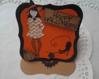 Halloween easel style card with Julie Nutting witch doll
