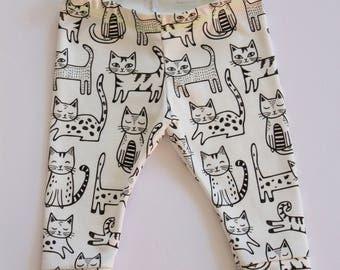organic baby leggings . cat leggings . organic toddler leggings . baby leggings in kitty print . organic baby clothing . unisex pants