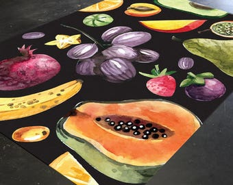 Fruit Rug, Kitchen Rug, Tropical Fruit, Dining Room Rugs, Kitchen Floor Mat