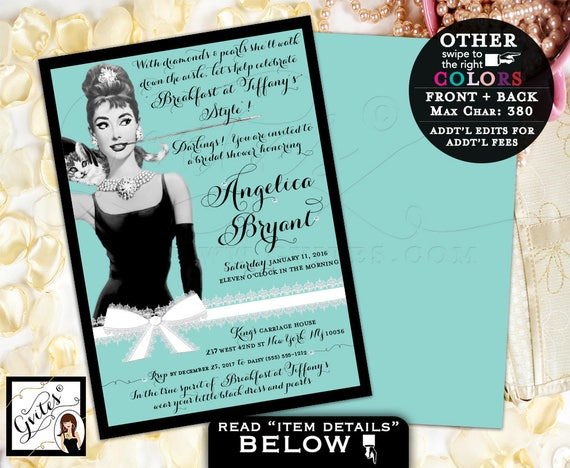 Breakfast at Tiffany's Bridal Shower Invitation, customizable, Audrey Hepburn party theme, PRINTABLE, 5x7 double sided.